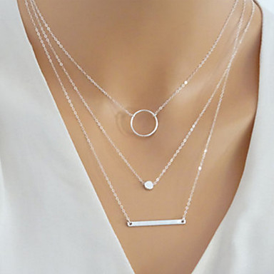 cheap Necklaces-Women's Layered Bar Layered Necklace wrap necklace trinity necklace Simple European Fashion Gold Silver 40 cm Necklace Jewelry 1pc For Daily