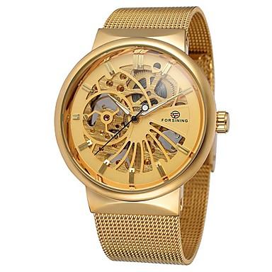 Χαμηλού Κόστους Ανδρικά ρολόγια-Ανδρικά Ρολόι Φορέματος Διάφανο Ρολόι μηχανικό ρολόι Αυτόματο κούρδισμα Ανοξείδωτο Ατσάλι Χρυσό 30 m Χρονογράφος Δημιουργικό Αναλογικό Πολυτέλεια Κλασσικό Μοντέρνα -