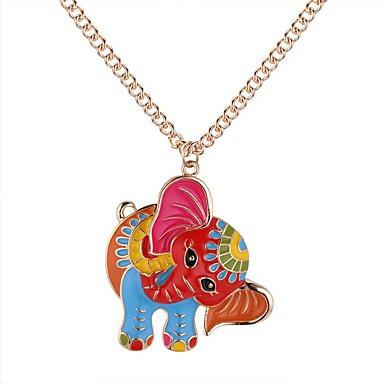 preiswerte Halsketten-Damen Pendant Halskette Lang Elefant damas Retro Zeichentrick Modisch Aleación Gold Silber 62+5 cm Modische Halsketten Schmuck 1pc Für Alltag Strasse