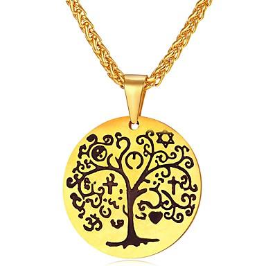 رجالي قلائد الحلي حبل سلسلة الثعلب منقوش شجرة الحياة موضة الفولاذ المقاوم للصدأ ذهبي فضي 55 cm قلادة مجوهرات 1PC من أجل هدية مناسب للبس اليومي