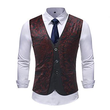 رجالي نبيذ XXXL XXXXL 5XL Vest قياس كبير أساسي / أناقة الشارع ألوان متناوبة / طباعة رد الفعل طباعة / بدون كم
