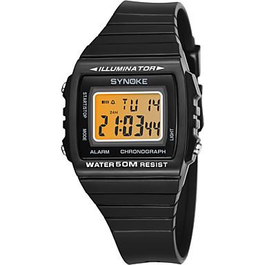 זול שעוני גברים-SYNOKE בגדי ריקוד גברים שעוני ספורט שעון דיגיטלי דיגיטלי דמוי עור מרופד שחור / לבן / נייבי 50 m עמיד במים לוח שנה כרונוגרף דיגיטלי אופנתי - לבן שחור כחול כהה / זוהר בחושך