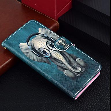 voordelige iPhone 7 hoesjes-hoesje Voor Apple iPhone X / iPhone 8 Plus / iPhone 8 Portemonnee / Kaarthouder / met standaard Volledig hoesje dier / Olifant Hard PU-nahka