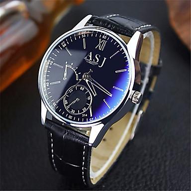 Недорогие Часы на кожаном ремешке-ASJ Муж. Нарядные часы Наручные часы Кварцевые Кожа Коричневый Защита от влаги Аналоговый Классика На каждый день - Синий Черный Черный / Белый Один год Срок службы батареи / SSUO SR626SW