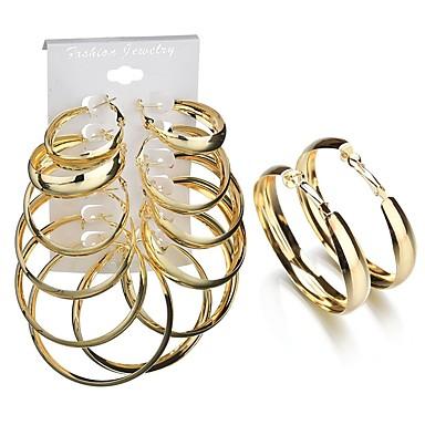 نسائي أقراط الزر أقراط طارة 3D سيدات شائع غلو الأقراط مجوهرات ذهبي من أجل هدية مناسب للبس اليومي 6 أزواج