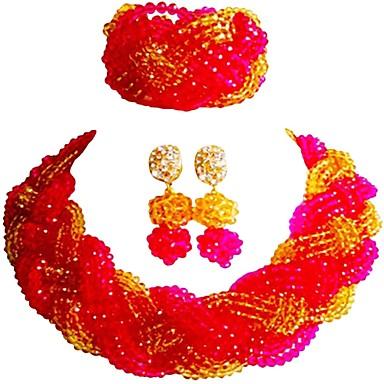نسائي متعدد الطبقات مجموعة مجوهرات النمسا، البلورة MOON سيدات, موضة, الأفريقي تتضمن قلادة السواحل أحمر / زهر فاقع / بني فاتح من أجل مناسب للحفلات تخرج / أقراط