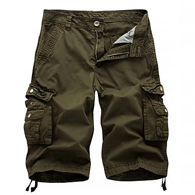 economico Abbigliamento uomo-Per uomo Moda città / Militare Per uscire Chino / Pantaloncini / Cargo Pants Pantaloni - Tinta unita Grigio scuro Grigio Cachi 34 36 38
