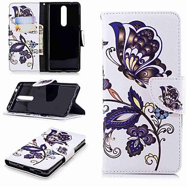 غطاء من أجل نوكيا Nokia 5 / Nokia 3 / Nokia 2.1 محفظة / حامل البطاقات / مع حامل غطاء كامل للجسم فراشة قاسي جلد PU