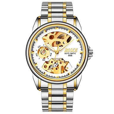 זול שעוני גברים-BOSCK בגדי ריקוד גברים שעוני שלד שעון מכני אוטומטי נמתח לבד מתכת אל חלד כסף 30 m עמיד במים חריתה חלולה זוהר בחושך אנלוגי פאר שלד - שחור כחול מוזהב