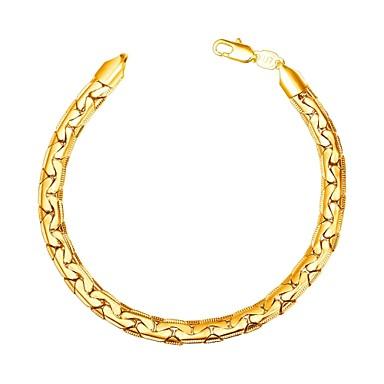 رجالي أسورة سلسلة سميكة موضة نحاس مجوهرات سوار ذهبي / أسود / فضي من أجل هدية مناسب للبس اليومي
