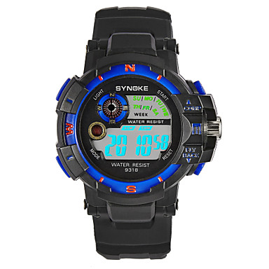 SYNOKE رجالي ساعة رياضية ساعة رقمية ياباني رقمي جلد اصطناعي أسود 30 m مقاوم للماء رزنامه الكرونوغراف رقمي موضة - أحمر أخضر أزرق / قضية
