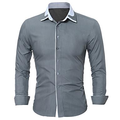رجالي قميص قياس كبير نحيل الأعمال التجارية / أساسي بقع لون سادة / ألوان متناوبة, عمل أزرق XL / كم طويل / الصيف