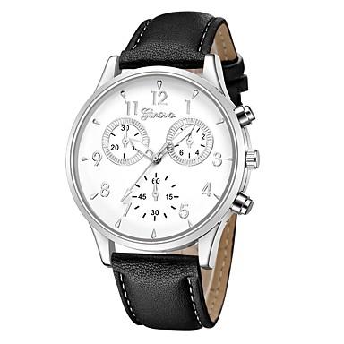 Geneva نسائي ساعة المعصم كوارتز جلد أسود / أزرق / بني تصميم جديد ساعة كاجوال كوول مماثل كاجوال موضة - أسود / فضي أبيض / البيج فضي / أزرق سنة واحدة عمر البطارية