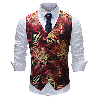 economico Abbigliamento uomo-Per uomo Gilè, Fantasia geometrica / Monocolore / A quadri A V Cotone / Acrilico / Poliestere Arcobaleno XXXL / XXXXL / XXXXXL