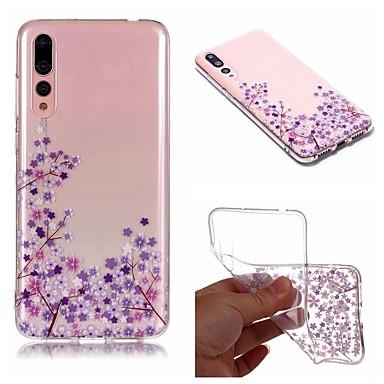 غطاء من أجل Huawei Huawei P20 / Huawei P20 Pro / Huawei P20 lite IMD / شفاف / نموذج غطاء خلفي زهور ناعم TPU / P10 Lite