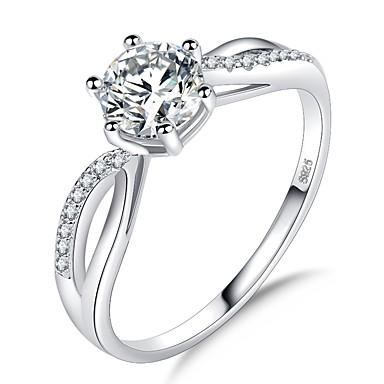 ieftine Inele-Pentru femei Stl Solitaire HALO Inel Placat cu platină Diamante Artificiale Iubire Bucurie femei Romantic Corean Elegant Inele la Modă Bijuterii Argintiu Pentru Nuntă Oficial Mascaradă Petrecere