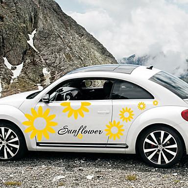 أصفر Car Stickers كرتون ملصقات الباب النباتات ملصقات