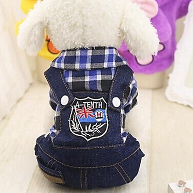 cheap Dog Clothing & Accessories-Rodents Dogs Cats Jumpsuit Dog Clothes Spots & Checks Jeans Fuchsia Red Green Cotton Costume For Husky Labrador Alaskan Malamute All Seasons Female Sports & Outdoors Check