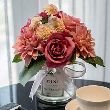 زهور اصطناعية 1 فرع كلاسيكي فردي الحديث الورود أزهار الطاولة