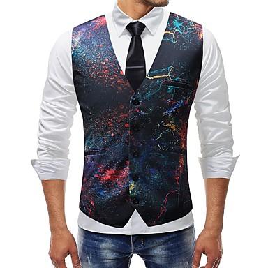 رجالي التقزح اللوني XXXL XXXXL 5XL Vest قياس كبير أساسي ألوان متناوبة / قوس قزح V رقبة نحيل / بدون كم