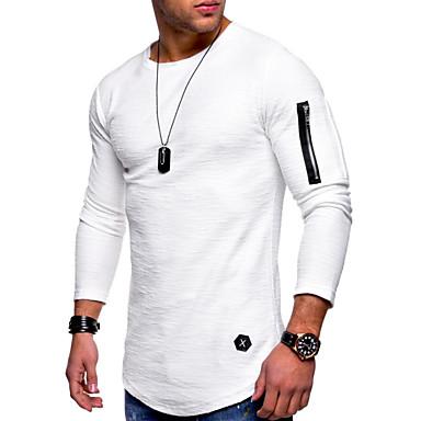 7ce57f4915c8 Ανδρικά T-shirt Κομψό στυλ street   Εξωγκωμένος - Βαμβάκι Μονόχρωμο  Στρογγυλή Λαιμόκοψη Μαύρο XL
