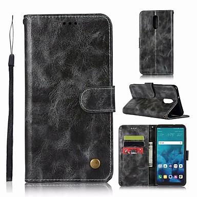 غطاء من أجل LG LG Q7 محفظة / حامل البطاقات / مع حامل غطاء كامل للجسم لون سادة قاسي جلد PU