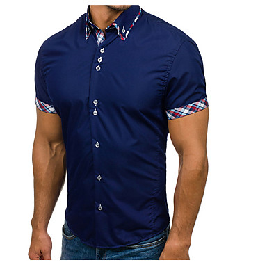رجالي عمل أساسي بقع قياس كبير - قطن قميص, لون سادة / ألوان متناوبة نحيل / كم قصير / الصيف