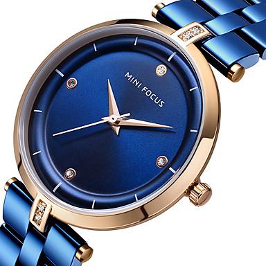 MINI FOCUS نسائي ساعة المعصم كوارتز ستانلس ستيل أسود / أزرق / ذهبي ساعة كاجوال مماثل سيدات ترف الحد الأدنى - أسود أزرق ذهبي روزي