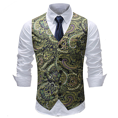 economico Abbigliamento uomo-Per uomo Gilè, Fantasia geometrica / Monocolore / A quadri A V Cotone / Acrilico / Poliestere Verde XXXL / XXXXL / XXXXXL