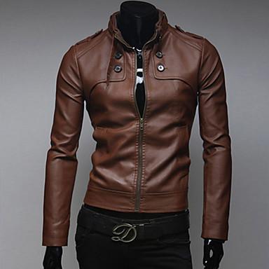 رجالي مناسب للبس اليومي أساسي ربيع & الصيف / الشتاء عادية جواكيت جلد, لون سادة مرتفعة كم طويل PU بني / أسود / جمل