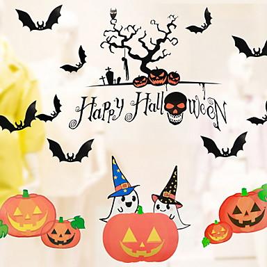 فيلم نافذة وملصقات زخرفة فني / ريترو / منقوشة / Halloween عطلة PVC ملصق النافذة / شوب / مقهى