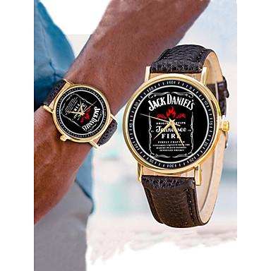 رجالي نسائي ساعة المعصم ساعة ذهبية كوارتز جلد أسود / الأبيض / فضة إبداعي تصميم جديد كوول مماثل كاجوال ساعة عالمية - ذهبي ذهبي-أسود أسود / ذهبي روزي سنة واحدة عمر البطارية / SSUO 377
