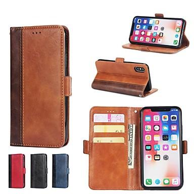 غطاء من أجل Apple iPhone XS / iPhone XR / iPhone XS Max محفظة / حامل البطاقات / مع حامل غطاء كامل للجسم قرميدة قاسي جلد PU