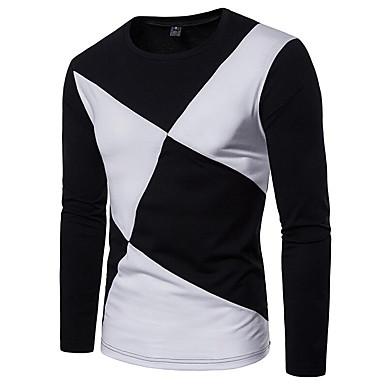7e721cf429e5 Χαμηλού Κόστους Ανδρικά μπλουζάκια και φανελάκια-Ανδρικά T-shirt Ενεργό  Μονόχρωμο Στρογγυλή Λαιμόκοψη Patchwork