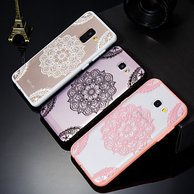 voordelige Galaxy A-serie hoesjes / covers-hoesje Voor Samsung Galaxy A5(2018) / A6 (2018) / A6+ (2018) Mat / Doorzichtig / Reliëfopdruk Achterkant Lace Printing Hard Acryl