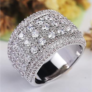billige Damesmykker-Dame Ring / Micro Pave Ring 1pc Sølv Kobber / Platin Belagt / Fuskediamant damer / Klassisk / Overdrivelse Bryllup / Fest / Maskerade Kostyme smykker / Stjerne