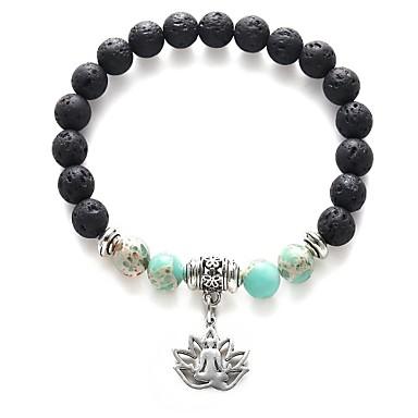 نسائي أساور حبلا قديم وردة Lotus سيدات موضة نمط الشعبية حجر مجوهرات سوار أسود من أجل مناسب للبس اليومي