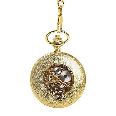رجالي ساعة جيب داخل الساعة أتوماتيك ذهبي نقش جوفاء ساعة كاجوال مماثل جمجمة موضة Steampunk - ذهبي