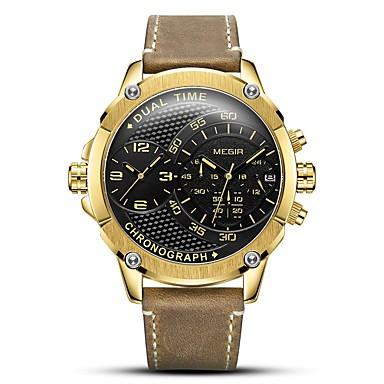 Недорогие Часы на кожаном ремешке-MEGIR Муж. Спортивные часы Японский Кварцевый Натуральная кожа Коричневый 30 m Защита от влаги Календарь Секундомер Аналоговый На каждый день Мода - Черный Серебряный Золотистый