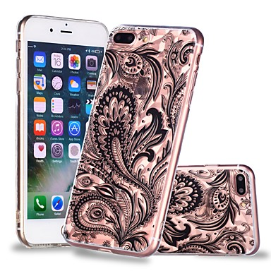 voordelige iPhone 6 Plus hoesjes-hoesje Voor Apple iPhone X / iPhone 8 Plus / iPhone 8 Transparant / Patroon Achterkant Cartoon / Lace Printing / Veren Zacht TPU
