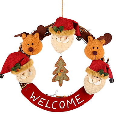 أكاليل / عيد الميلاد الحلي عطلة نسيج القطن دائري حداثة زينة عيد الميلاد