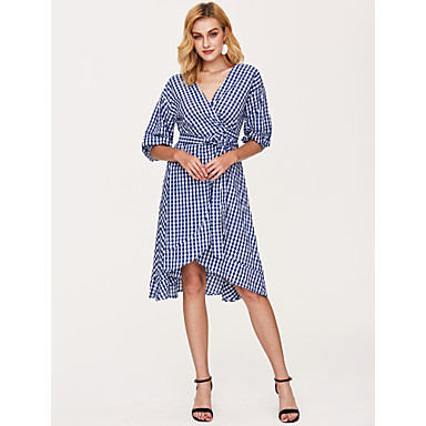cheap Midi Dresses-Women's Plaid Daily Street chic Sheath Dress - Check Blue, Print V Neck Summer Blue One-Size