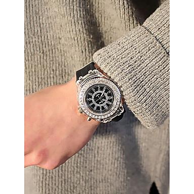 levne Pánské-Pánské Dámské dámy Sportovní hodinky Diamond Watch Křemenný Silikon Černá / Bílá / Orange Chronograf kreativita Svítící Analogové Barevná Vánoce - Modrá Růžová Námořnická modř Jeden rok Životnost