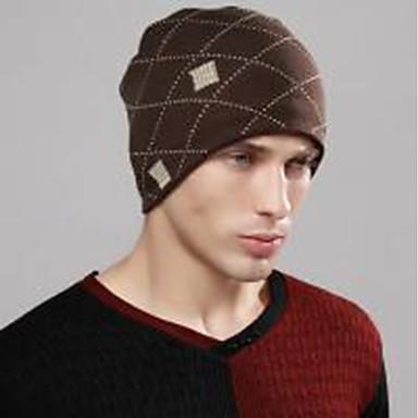 بني أسود قبعة مرنة هندسي رجالي قطن أكريليك