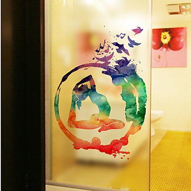 فيلم نافذة وملصقات زخرفة فني / ريترو / العادي لون متغاير PVC ملصق النافذة
