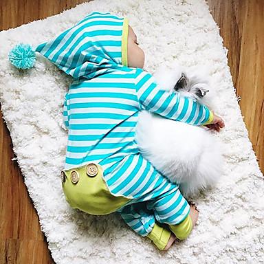 ieftine Haine Bebeluși Băieți-Bebelus Băieți Activ / De Bază Zilnic Dungi Dungi Manșon Lung Bumbac O - piesă Albastru piscină