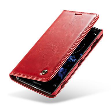 غطاء من أجل Sony Xperia XZ2 محفظة / حامل البطاقات / مع حامل غطاء كامل للجسم لون سادة قاسي جلد أصلي