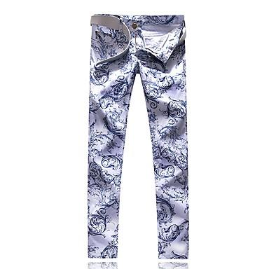 رجالي أناقة الشارع مناسب للخارج نحيل تشينوز بنطلون - هندسي الأزرق والأبيض, طباعة الربيع الخريف أبيض 34 36 38