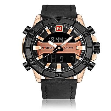 NAVIFORCE رجالي ساعة رياضية ساعة عسكرية ساعة رقمية ياباني كوارتز ياباني جلد طبيعي أسود / بني 30 m مقاوم للماء المنبه رزنامه تناظري-رقمي ترف موضة - أسود وذهبي أسود / أبيض براون / الذهب / سنة واحدة