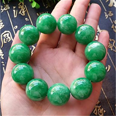 رجالي الجاد حجر كريم أساور حبلا كلاسيكي خرز كرة الآسيوي ترف كلاسيكي حجر مجوهرات سوار أخضر من أجل مهرجان شارع
